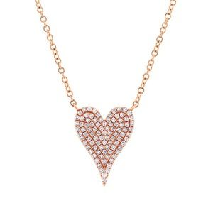 Jewelry - 14k Rose Gold Pave Heart Necklace